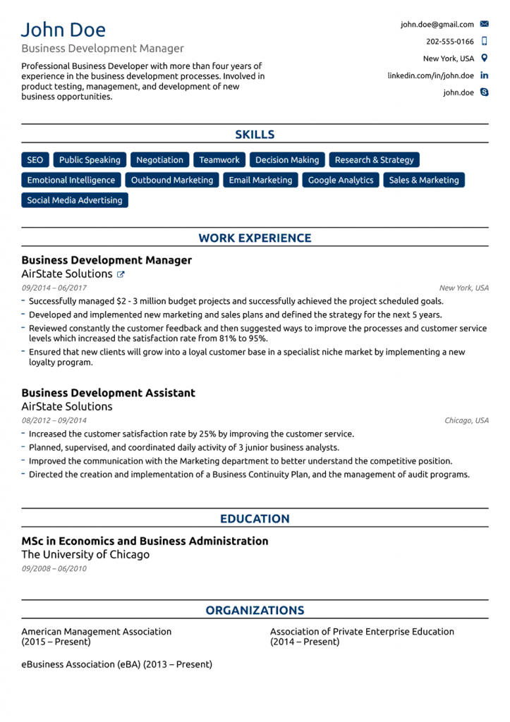 college-resume-template